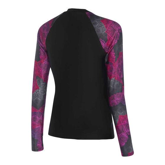 Speedo Womens Leisure Long Sleeve Rash Vest, Black/Pink, rebel_hi-res
