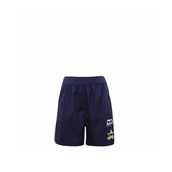 North Queensland Cowboys 2021 Kids Gym Shorts, Navy, rebel_hi-res