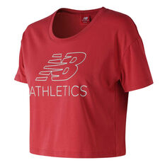 New Balance Womens Athletics Cropped Tee, Red, rebel_hi-res