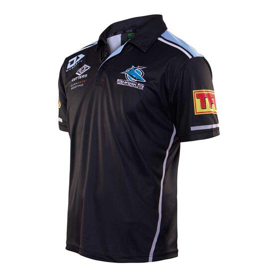 Cronulla-Sutherland Sharks 2020 Mens Media Polo, Black, rebel_hi-res