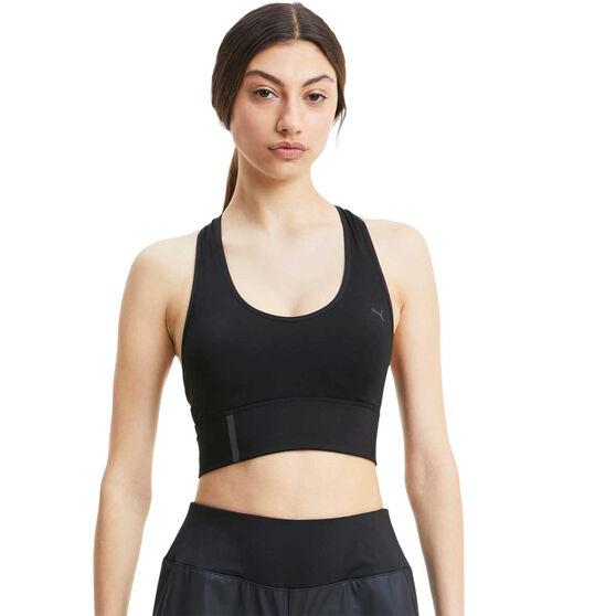 Puma Womens Mid-Impact Long Line Sports Bra, Black, rebel_hi-res
