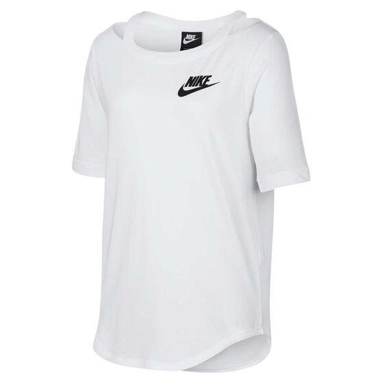 Nike Girls Sportswear Short Sleeve Tee White / Black L, White / Black, rebel_hi-res