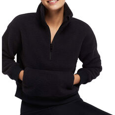 Nimble Womens Adventure Half Zip II Sweatshirt Black XS, Black, rebel_hi-res