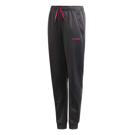 adidas Girls Linear Logo Pants, Grey / Pink, rebel_hi-res