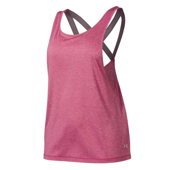 Under Armour Womens UA Armour Sport Branded Tank, Pink, rebel_hi-res
