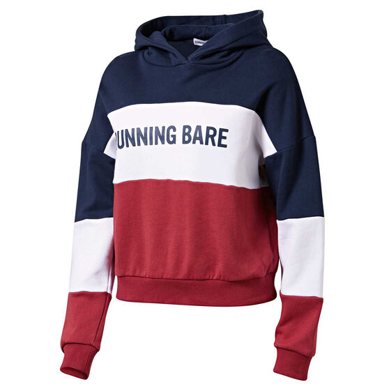 Running Bare Womens Earn Your Stripes Hoodie, Navy, rebel_hi-res