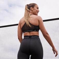 adidas Womens TechFit Shine Tights, Black, rebel_hi-res
