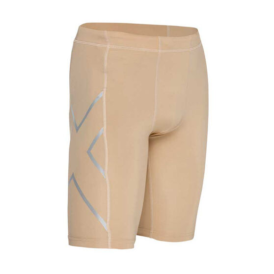 2XU Mens Compression Shorts, Beige, rebel_hi-res