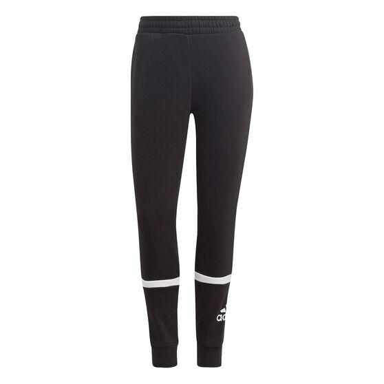 adidas Womens Essentials Logo Colourblock Pants, Black, rebel_hi-res