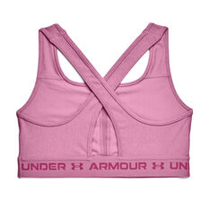 Under Armour Womens Mid Crossback Heather Sports Bra, Pink, rebel_hi-res