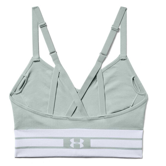 Under Armour Womens Seamless Longline Sports Bra, Green, rebel_hi-res