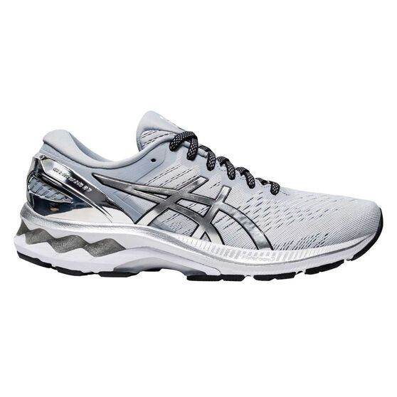 Asics GEL Kayano 27 Platinum Womens Running Shoes, Grey/Silver, rebel_hi-res