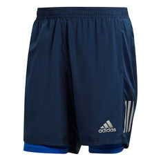 adidas Mens Own The Run 2 in 1 Running Shorts Navy XS, Navy, rebel_hi-res