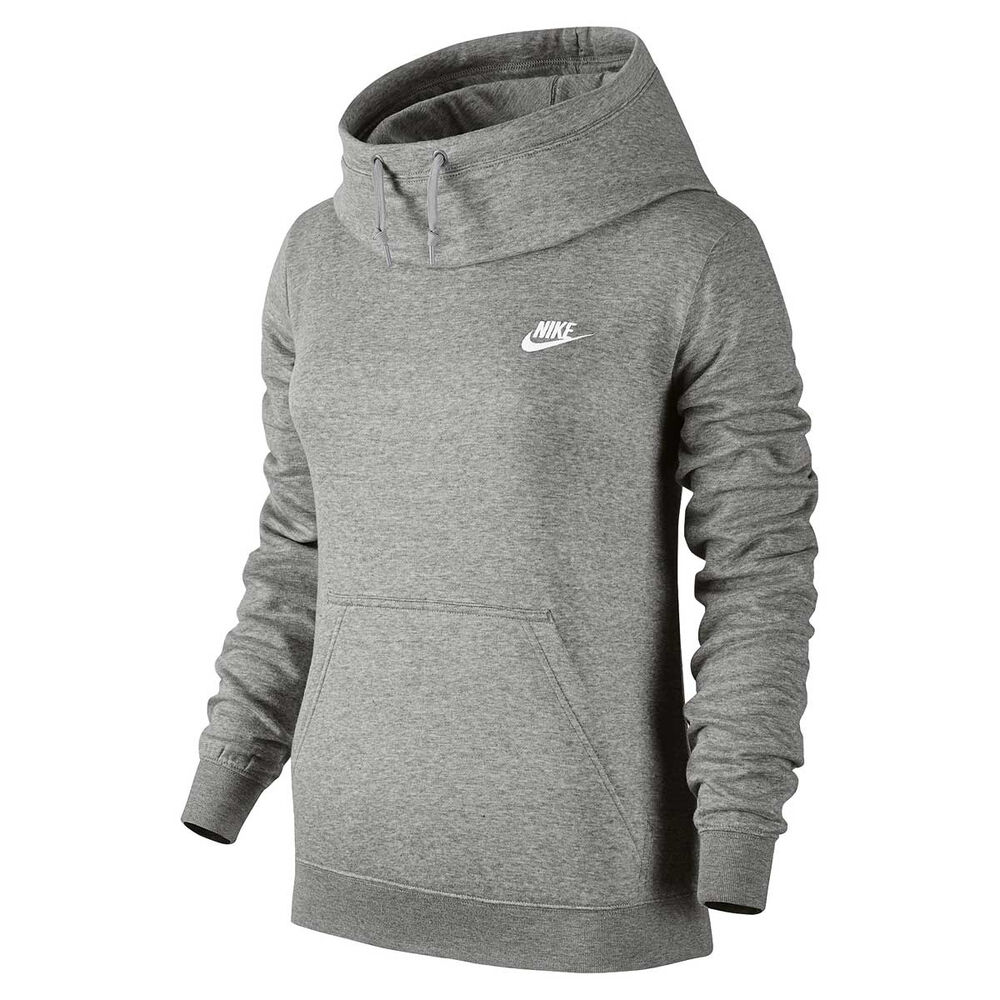 f741aa7b7bfd Nike Womens Funnel Neck Hoodie Grey   Silver XS Adult