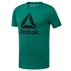 Reebok Mens Workout Ready Supremium Tee Green S, Green, rebel_hi-res
