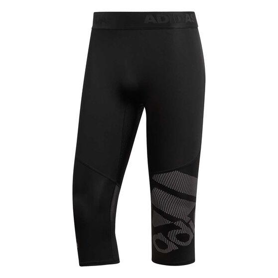 adidas Mens Alphaskin Sport 3/4 Tights, Black, rebel_hi-res