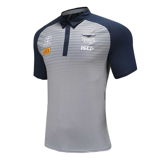 North Queensland Cowboys 2020 Mens Performance Polo, Grey / Navy, rebel_hi-res
