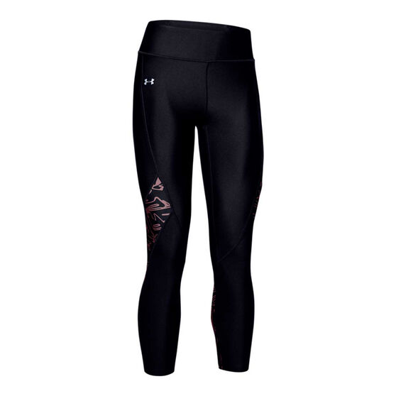 Under Armour Womens HeatGear Printed Panel Cropped Tights, Black, rebel_hi-res