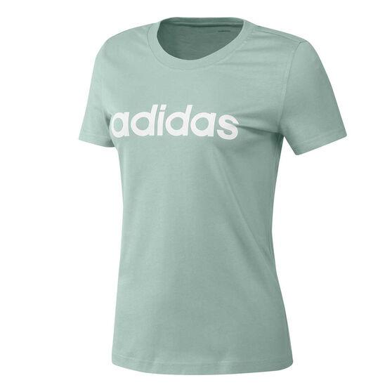 adidas Womens Essentials Linear Slim Tee, Green, rebel_hi-res