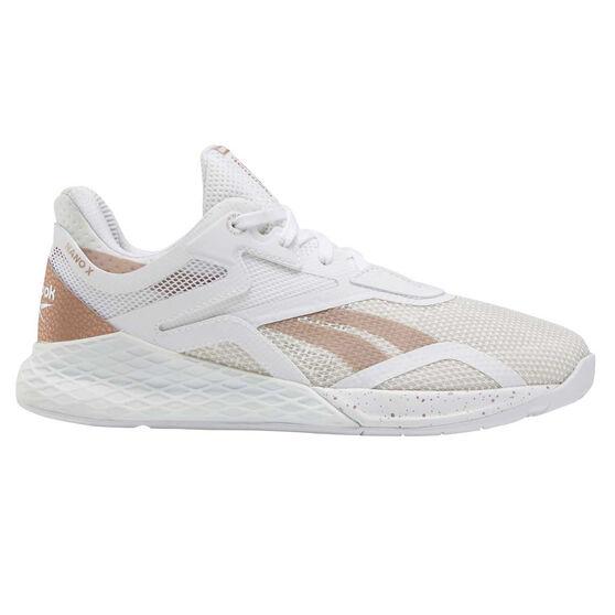Reebok Nano X Womens Training Shoes, White/Rose Gold, rebel_hi-res