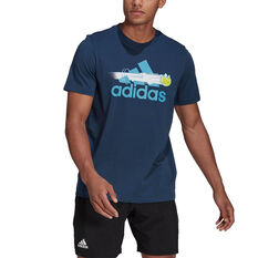 adidas Tennis Mens Graphic Logo Tee Navy S, Navy, rebel_hi-res