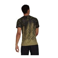adidas Mens Tennis Primeblue Freelift Printed Tee Khaki S, Khaki, rebel_hi-res