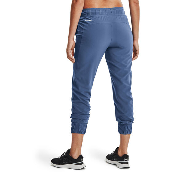 Under Armour Womens UA Woven Branded Pants, Blue, rebel_hi-res