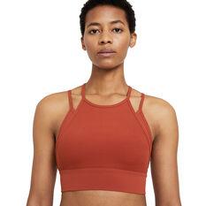 Nike Womens Yoga Dri-FIT Indy Light-Support Sports Bra Orange XS, Orange, rebel_hi-res