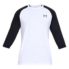 Under Armour Mens Sportstyle Left Chest 3/4 Tee, White, rebel_hi-res