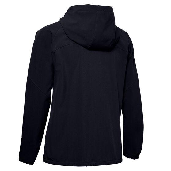 Under Armour Womens Woven Branded Full Zip Hoodie, Black, rebel_hi-res