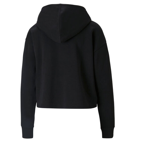Puma Womens Essentials Cropped Metallic Hoodie, Black, rebel_hi-res