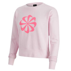 Nike Womens Dri-FIT Icon Clash Crew Sweater, Pink, rebel_hi-res