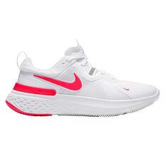 Nike React Miler Womens Running Shoes White/Pink US 6, White/Pink, rebel_hi-res