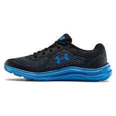 Under Armour Liquify Kids Running Shoes Black / Blue US 4, Black / Blue, rebel_hi-res