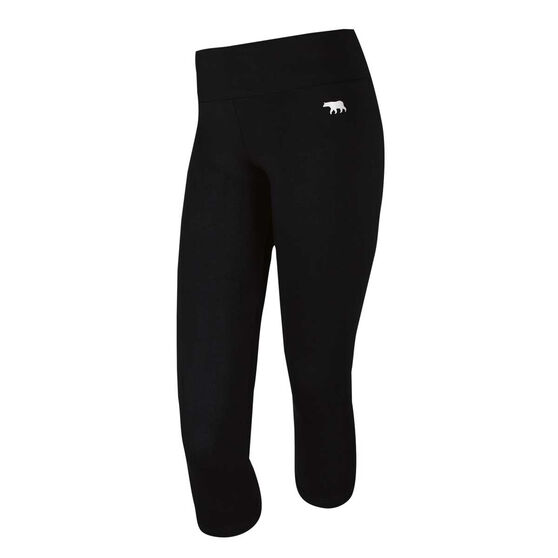 Running Bare Womens High Rise 7 / 8 Tights, Black, rebel_hi-res
