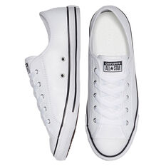 Converse Chuck Taylor Dainty Low Leather Womens Casual Shoes, White, rebel_hi-res