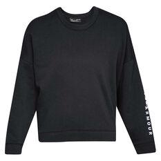 Under Armour Womens Rival Fleece Crew Sweater Black/White XS, Black/White, rebel_hi-res