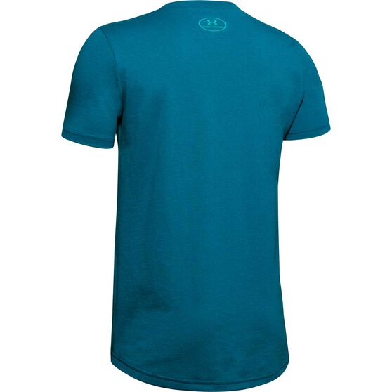 Under Armour Boys Sportstyle Logo Tee, Teal, rebel_hi-res