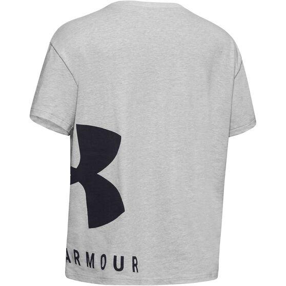 Under Armour Girls Sportstyle Tee Grey / Black XS, Grey / Black, rebel_hi-res