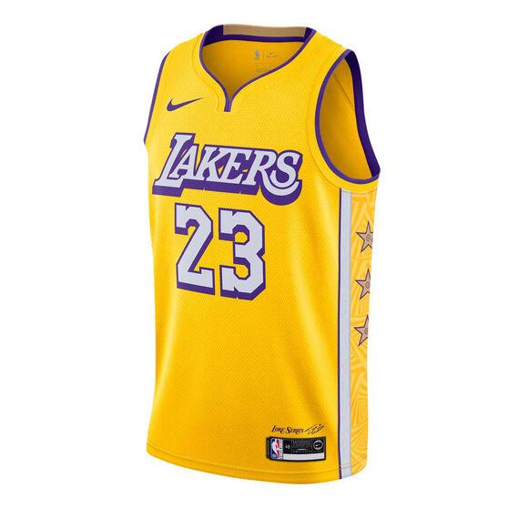 Nike Los Angeles Lakers LeBron James 2019/20 Mens City Edition Jersey, Yellow, rebel_hi-res