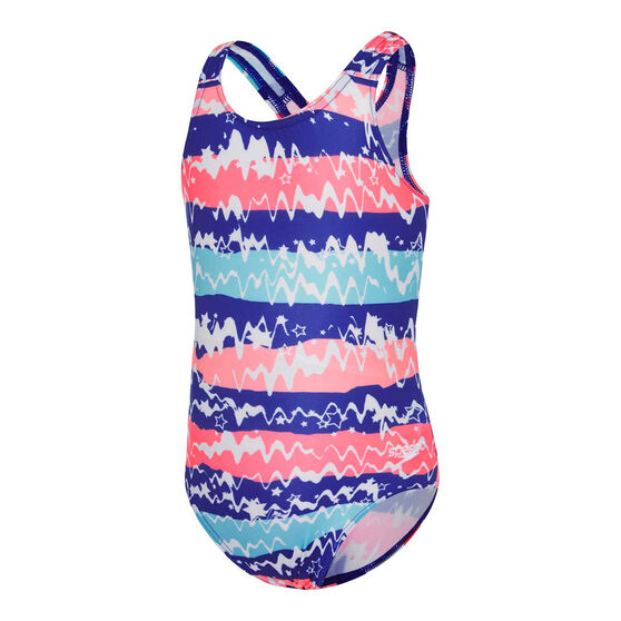 Speedo Girls Leisure Racerback Squiggle Swimsuit, Print, rebel_hi-res