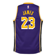 Nike Los Angeles Lakers LeBron James Statement Edition 2019 Kids Swingman Jersey Blue / Yellow S, Blue / Yellow, rebel_hi-res