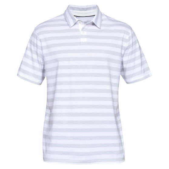 Under Armour Mens Charged Cotton Scramble Stripe Sportwear Polo, White / Grey, rebel_hi-res