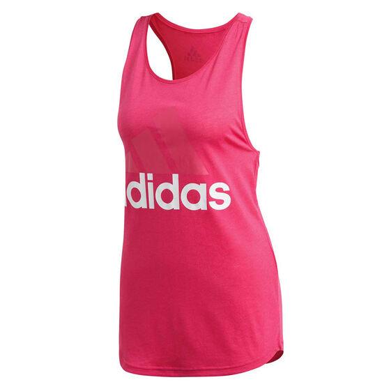 adidas Womens Essential Linear Logo Tank, Red, rebel_hi-res