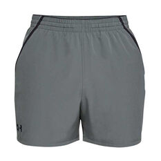 Under Armour Mens Qualifier 5in Woven Training Shorts Grey / Black XS, Grey / Black, rebel_hi-res