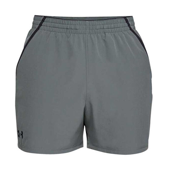 Under Armour Mens Qualifier 5in Woven Training Shorts, Grey / Black, rebel_hi-res