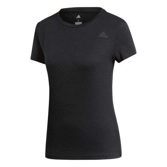adidas Womens Freelift Prime Tee, Black, rebel_hi-res
