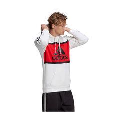 adidas Mens Essentials Colourblock Logo Hoodie White L, White, rebel_hi-res