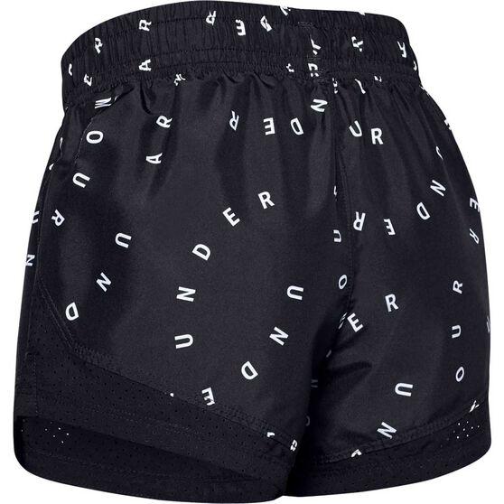 Under Armour Girls Sprint Printed Shorts, Black / Silver, rebel_hi-res
