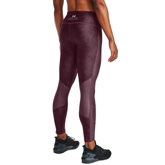 Under Armour Womens Project Rock Ankle Crop Tights, Purple, rebel_hi-res